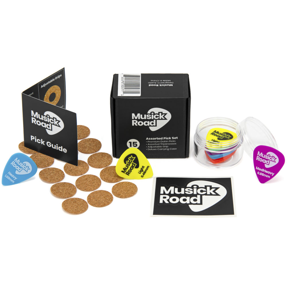 Set of 15 Musick Road brand Delrin Guitar Picks With Adjustable Grip and Case. Assorted Color-Coded Thicknesses.