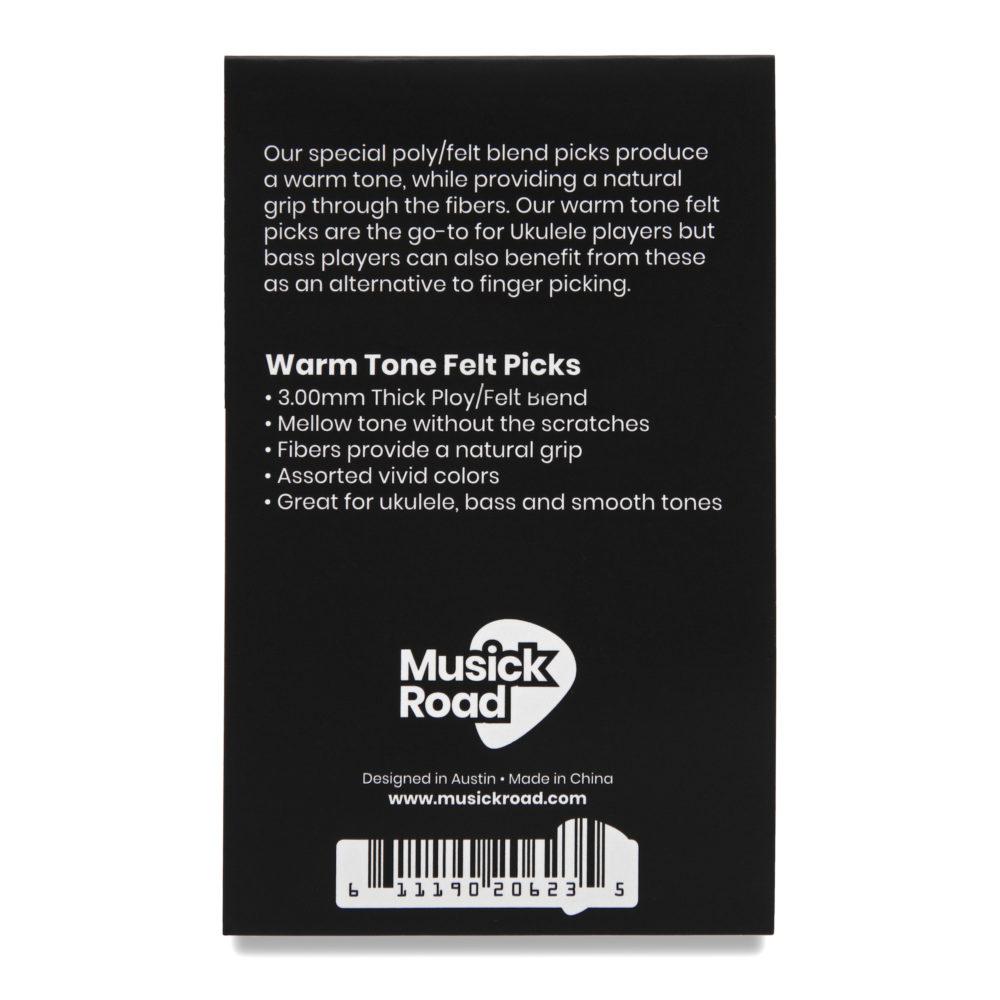 Back package view of the Musick Road Ukulele Felt Picks 6 pack