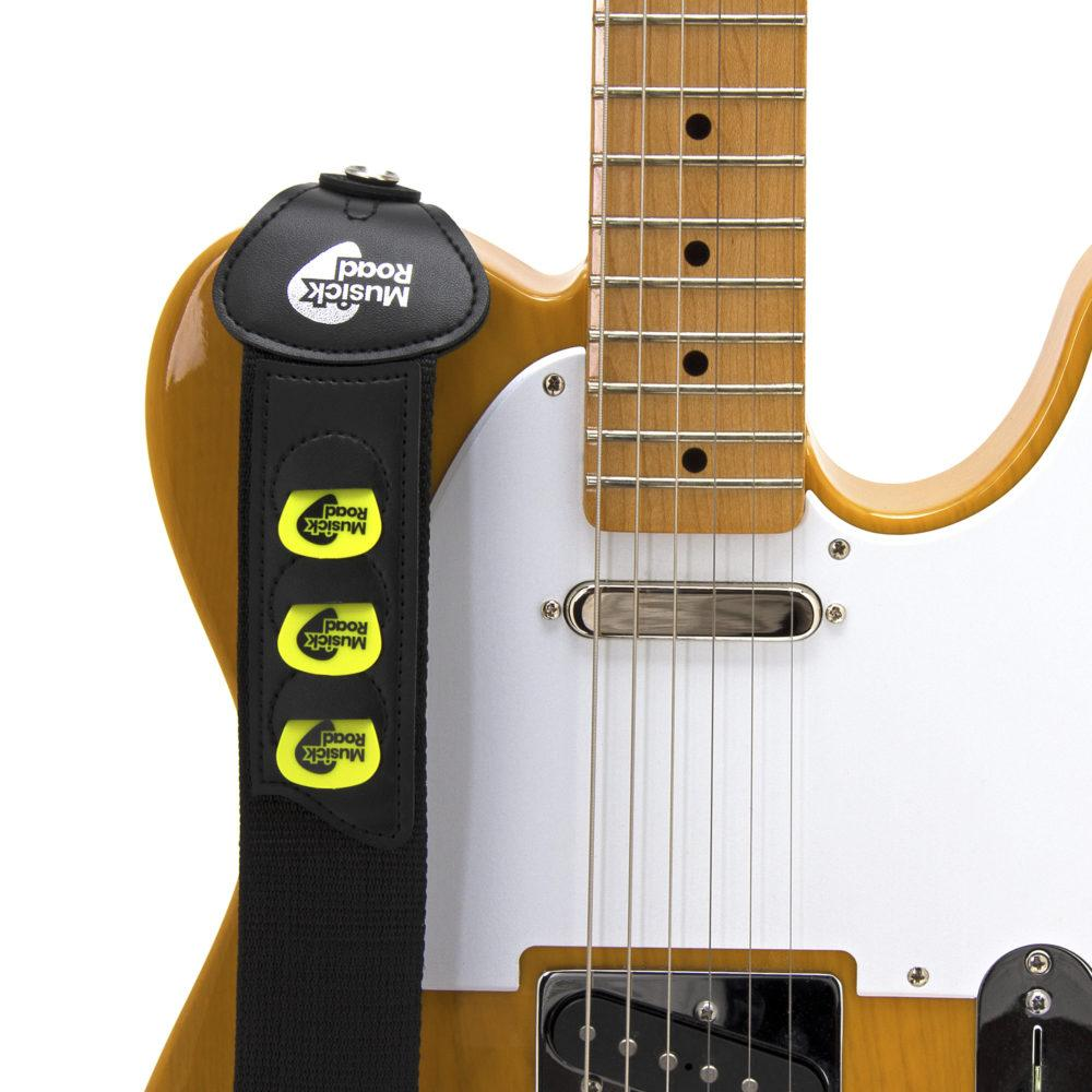 Musick Road Black Poly Guitar Strap Ends with Picks on a Fender Telecaster