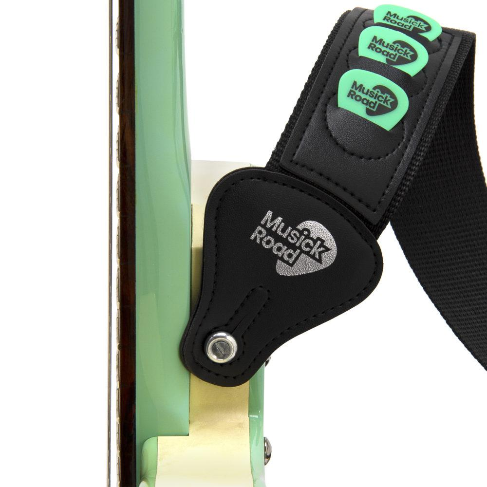 Musick Road Black Poly Guitar Strap Ends with Picks on a Danelectro